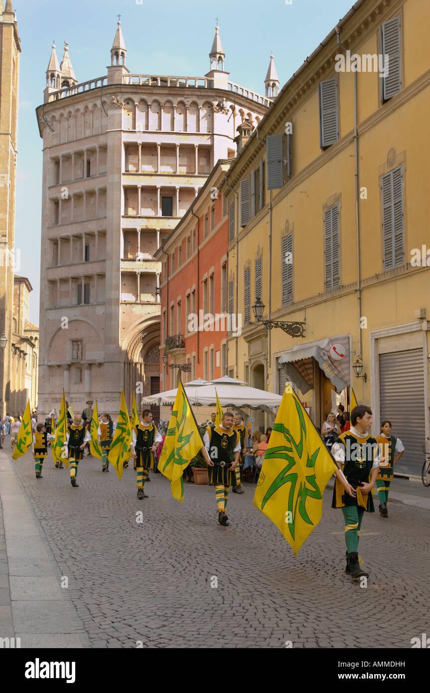 Fiesta near the Baptistry and Duomo Piazza Del Duomo. Parma Italy - Stock Image