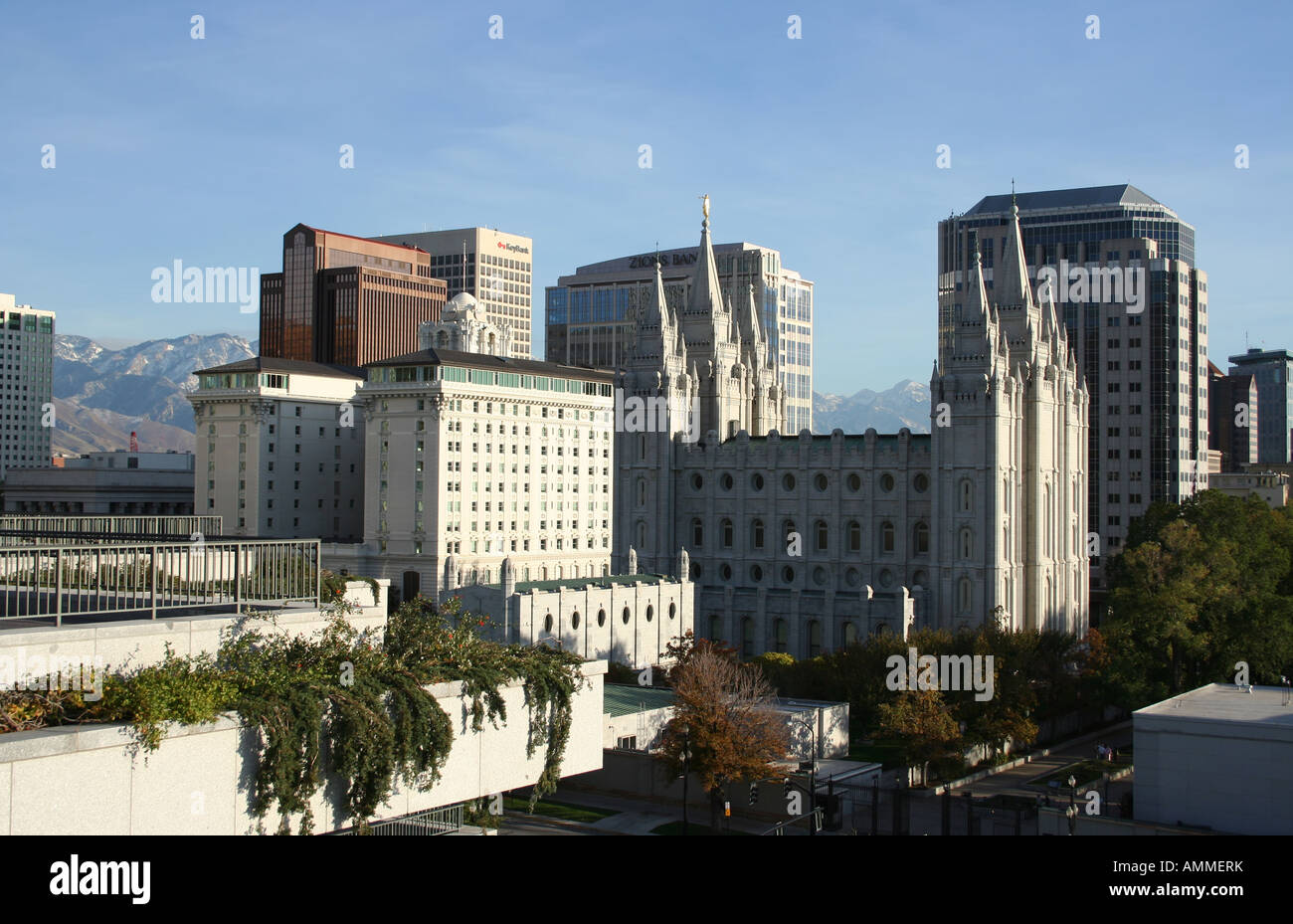 Elevated View Of Temple Square From Roof Of Lds Conference