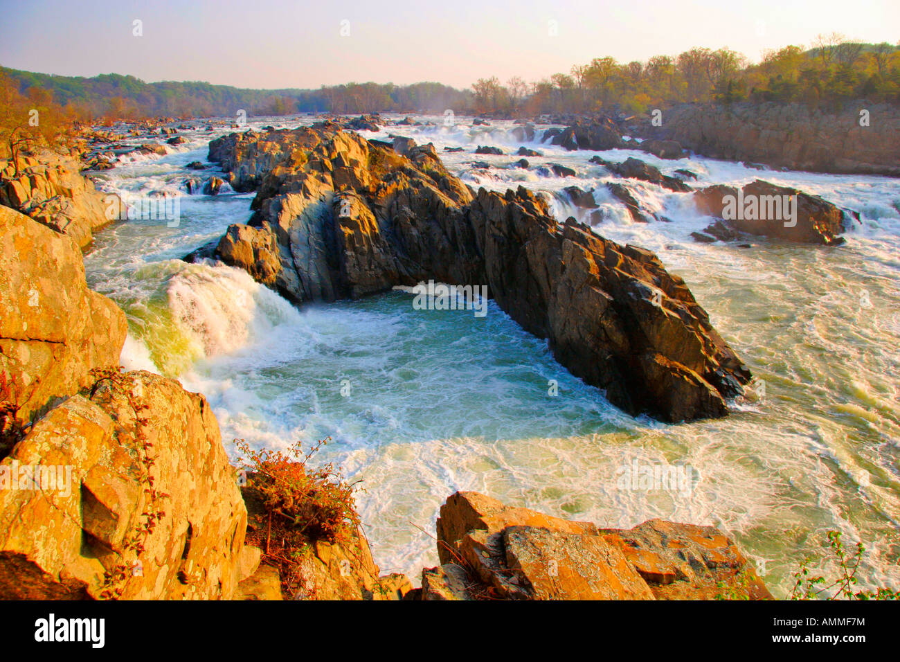 Sunrise in Mather Gorge, Great Falls Park, Fairfax County, Virginia, USA - Stock Image