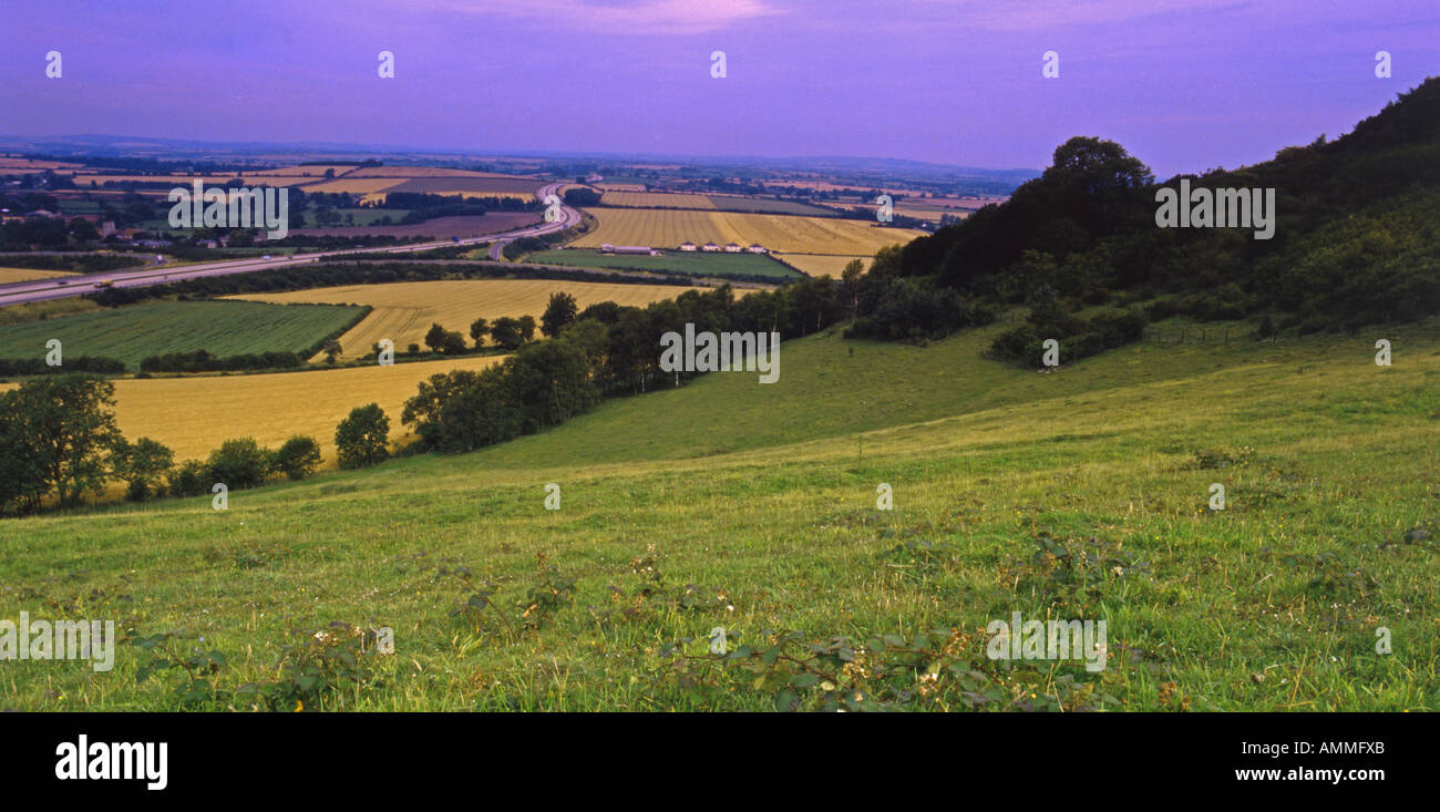 Chilterns Panorama. Aston Rowant EN Reserve looking south over M40 Oxfordshire England August - Stock Image