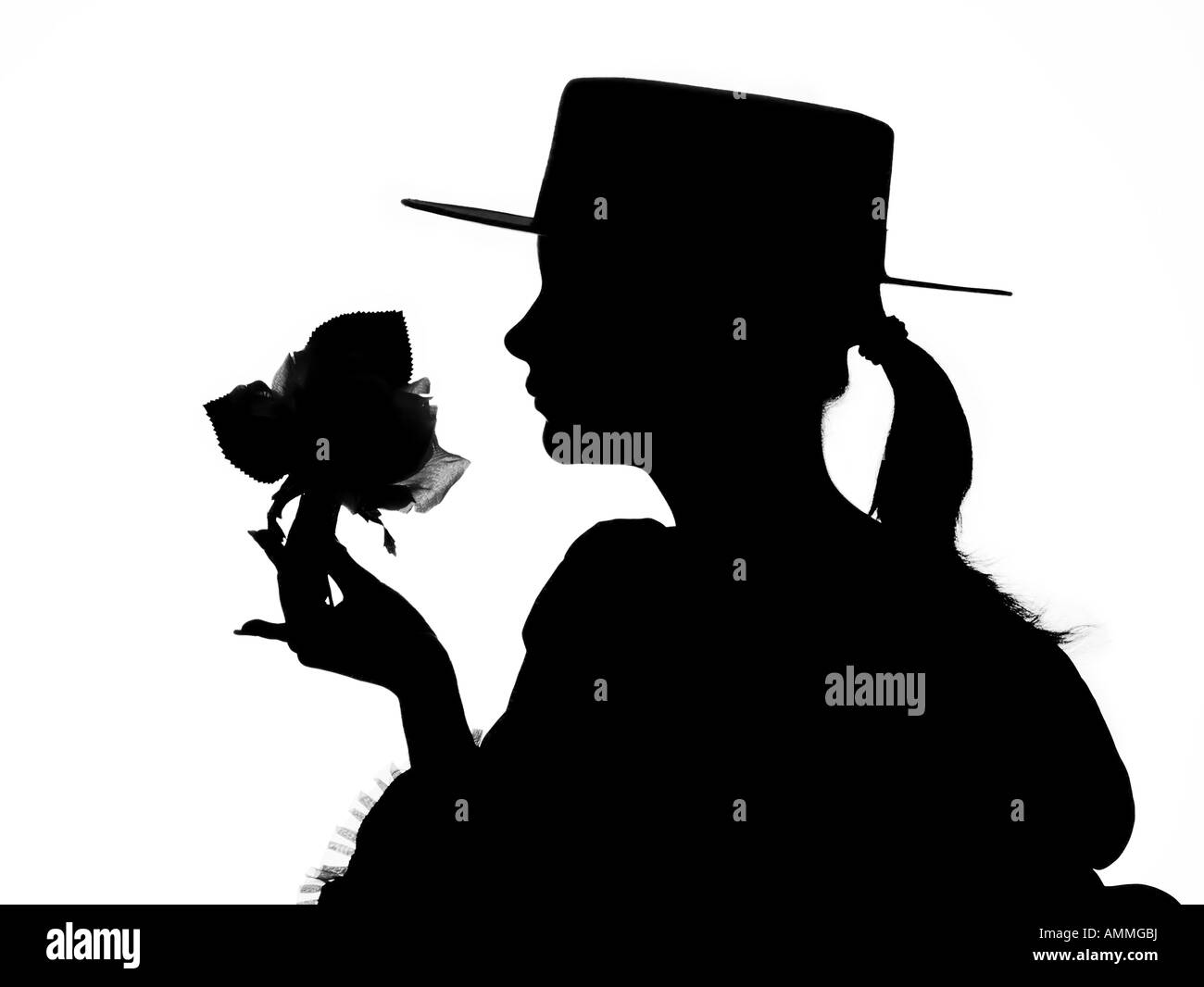silhouette of a young flamenco dancer - Stock Image