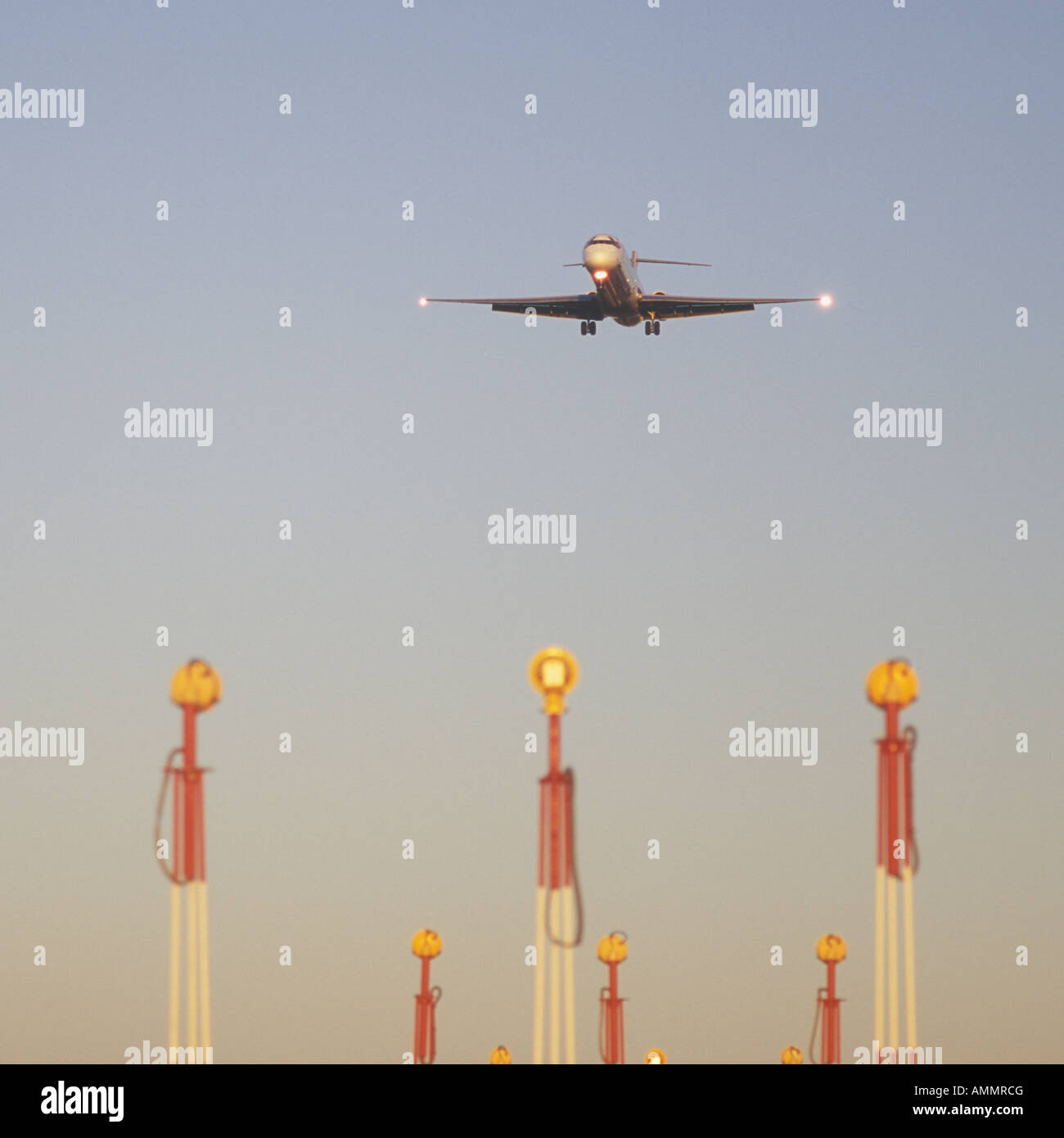 Aircraft on final approach to the Airport of Palma de Mallorca Balearic Islands Spain 9th December 2007 - Stock Image