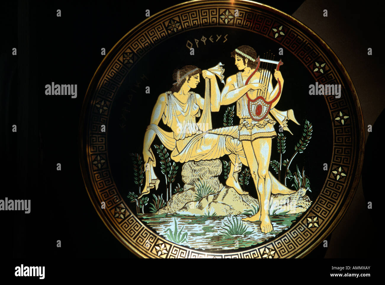 Rhodes Greece Myth On Plate Orpheus - Stock Image