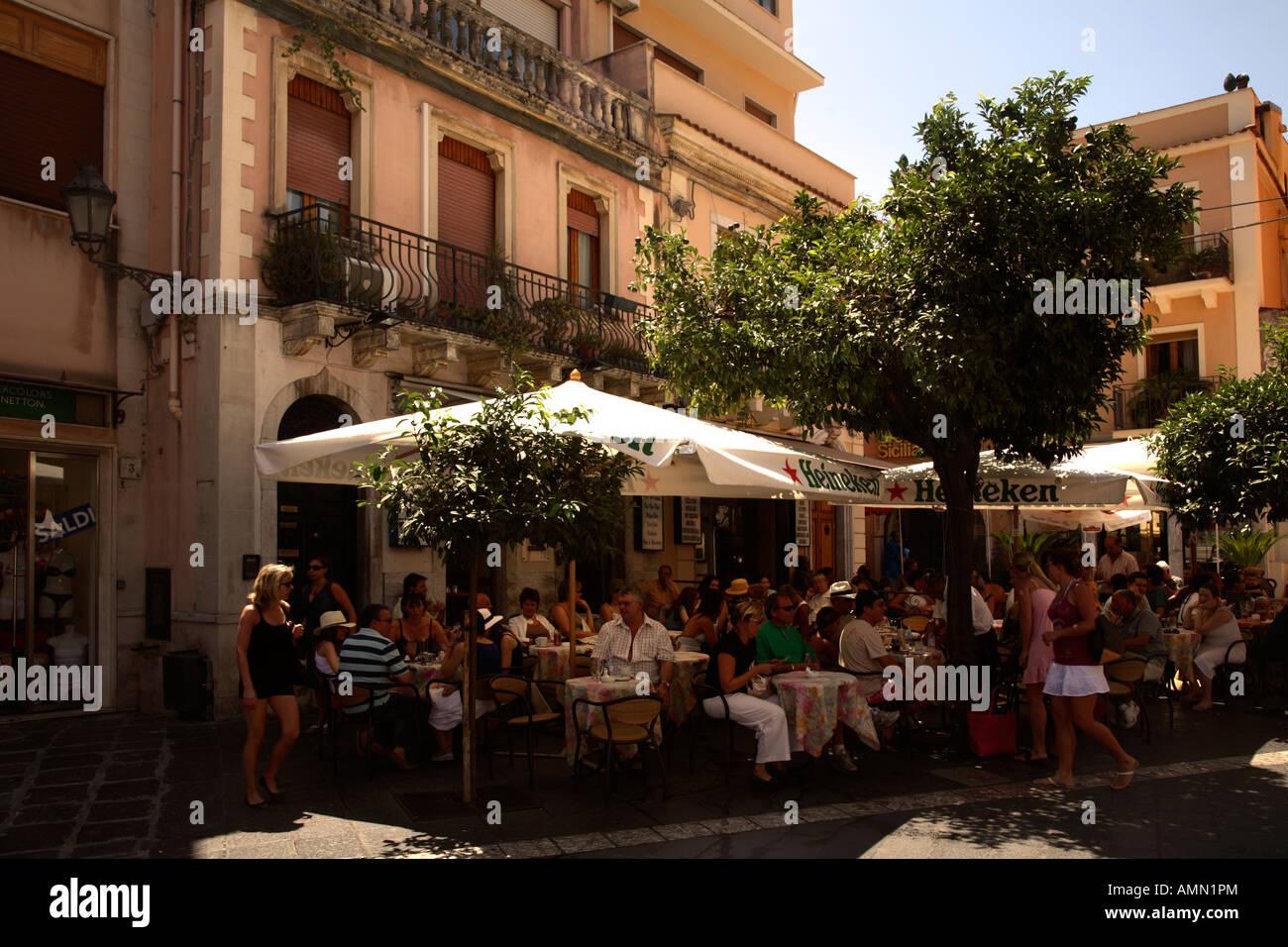 Outdoor Restaurant Taormina Italy Sicily Stock Photo