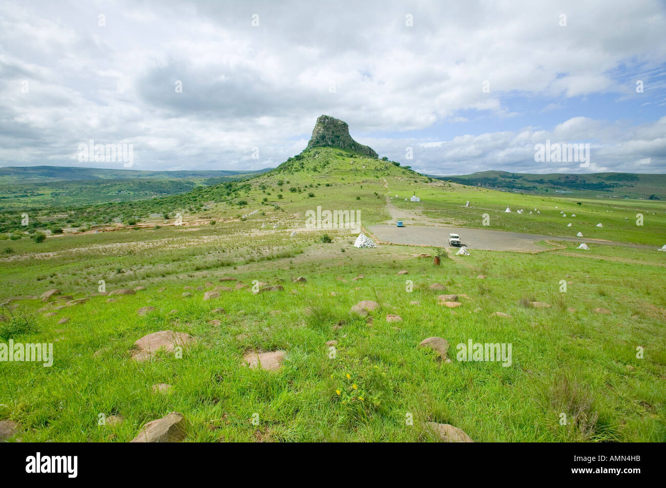 Sandlwana hill or Sphinx with soldiers graves in foreground the scene of the Anglo Zulu battle site of January 22 1879 The - Stock Image