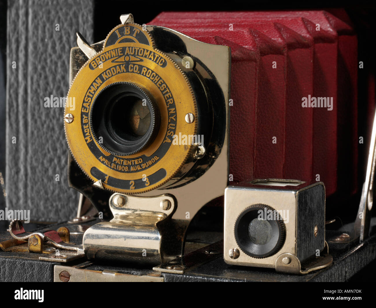 Kodak Eastman Brownie Automatic with red bellows camera. No 2 Pocket Folding - Stock Image