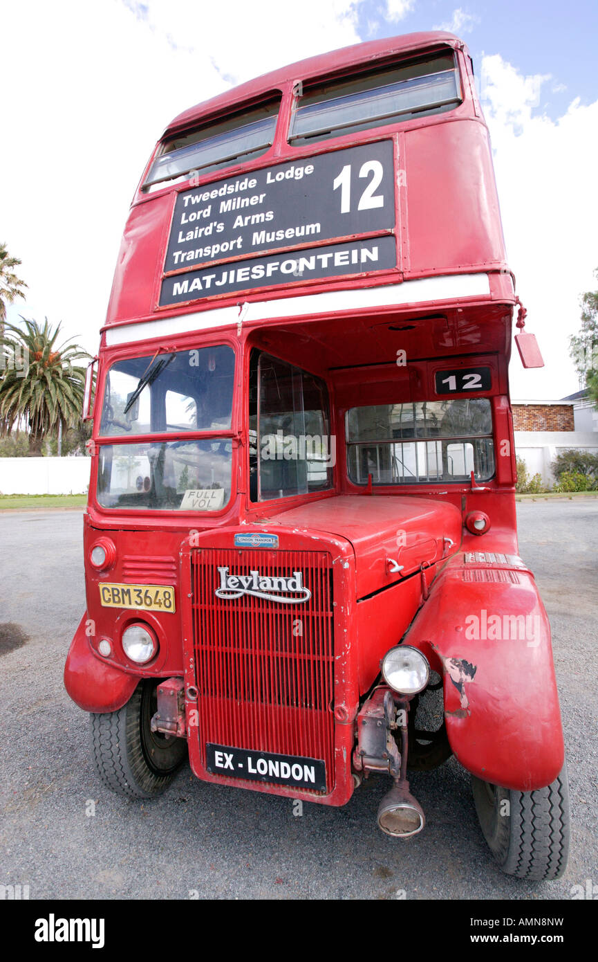 A double-decker bus imported from London as a novelty in Matjiesfontein - Stock Image