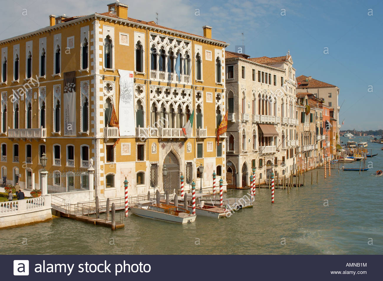 Venice Italy. Grand Canal and Palaces at Academia - Stock Image