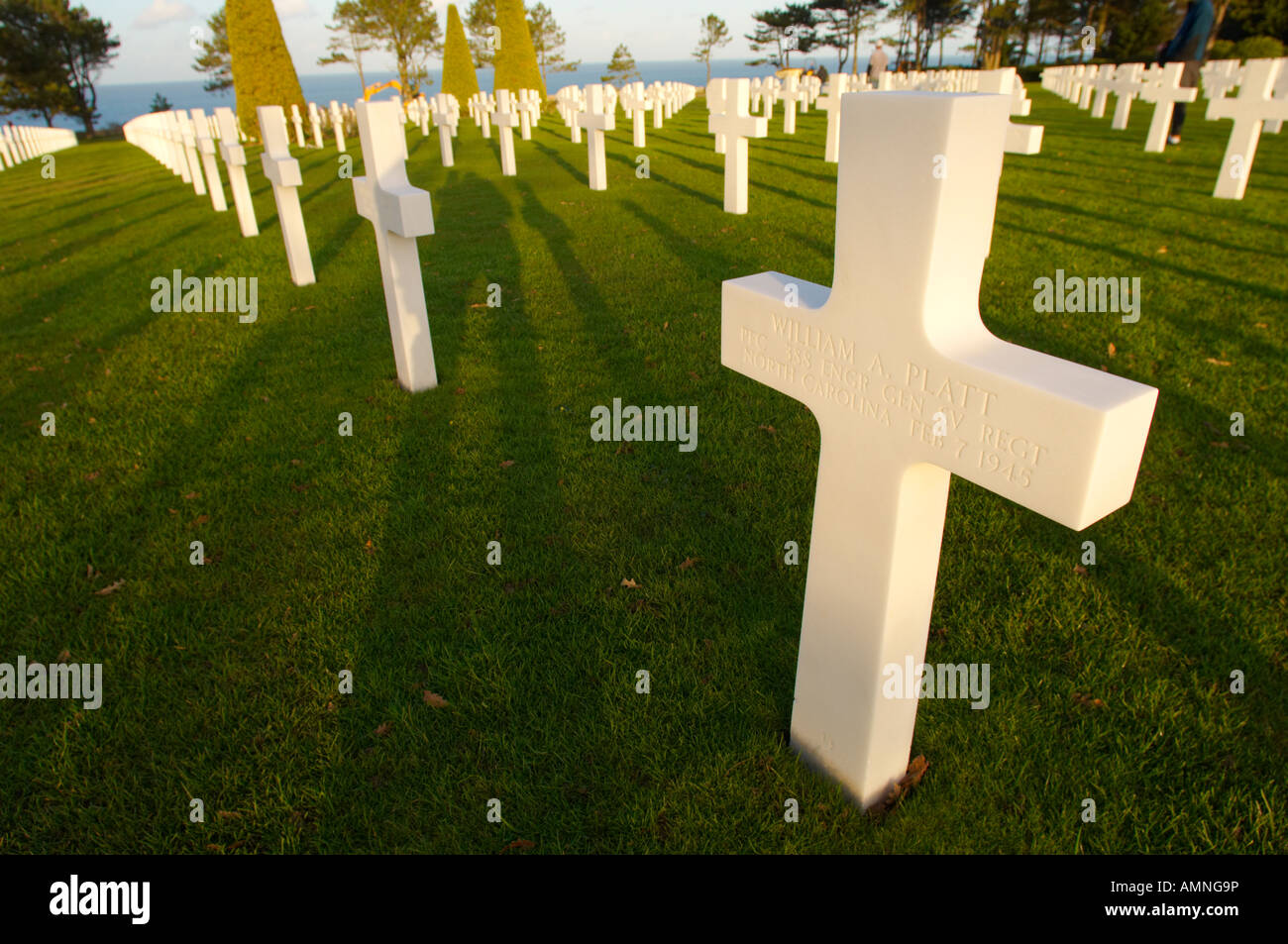 American second world war D day landing Cemetery at Omaha beach. Normandy France. - Stock Image