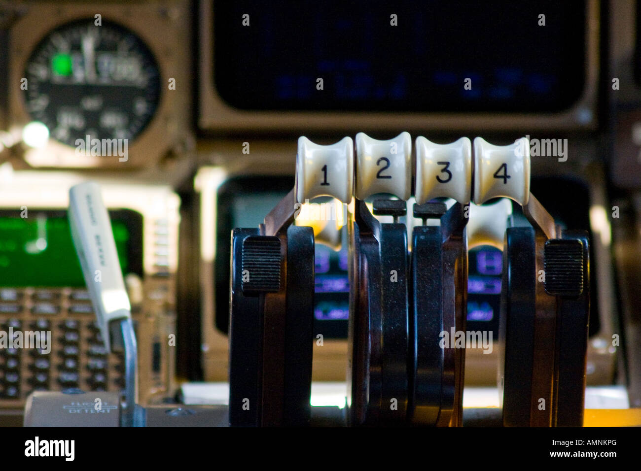 Engine Throttle in the Cockpit of a 747 Boeing Commercial Jet Airplane Stock Photo