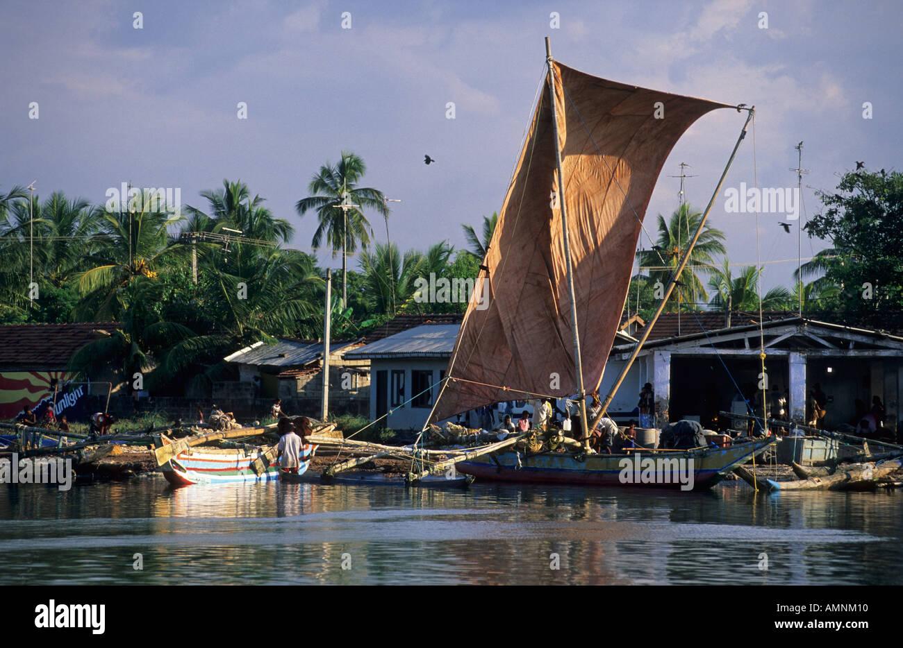 old oruvas boat in the harbor of Negombo Stock Photo