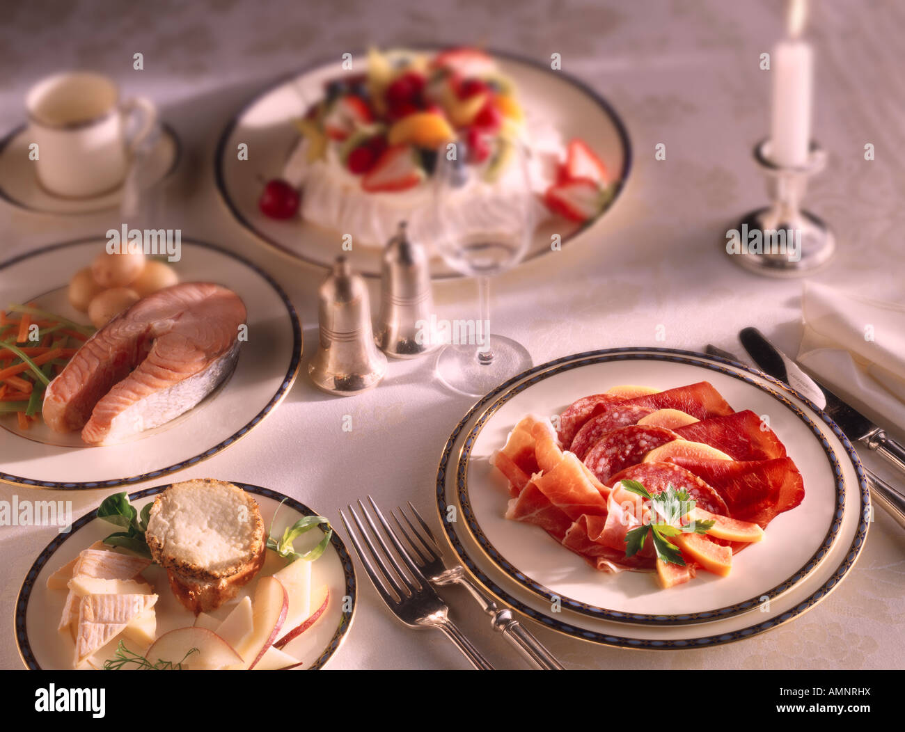 Complete meal of starter Charcutterie, Main Course, Salmon Steak ...