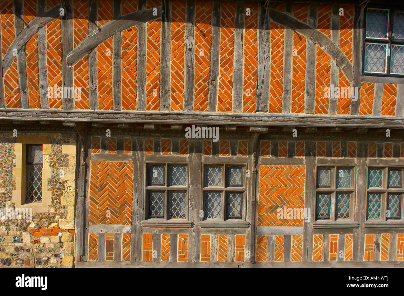 Elizabethan tudor windows and half timbered building of town Hall Aldeburgh, East Anglia, Suffolk, England - Stock Image