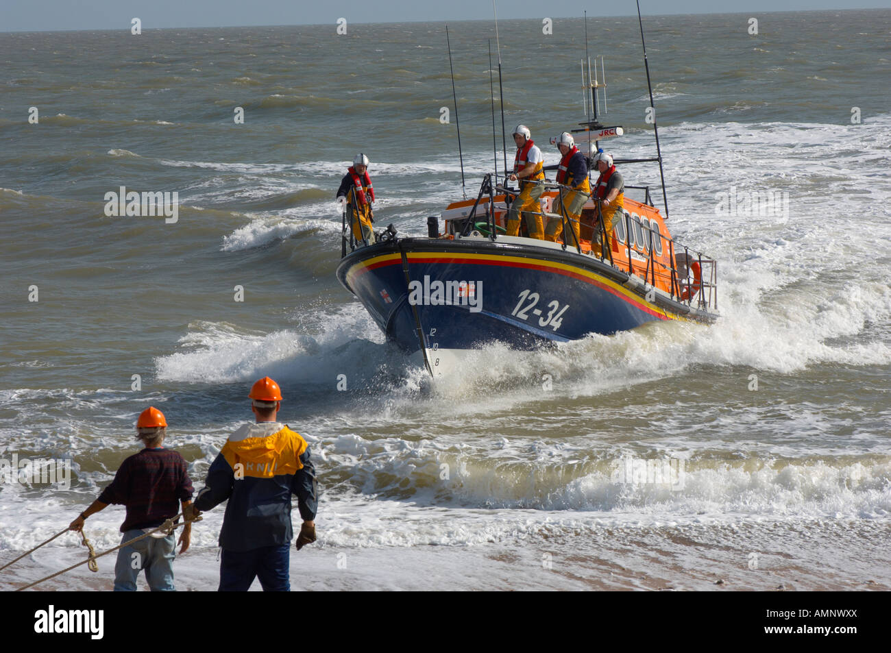 RNLI lifeboat being landed at Aldeburgh, East Anglia. Royal National Lifeboat Stock Photo