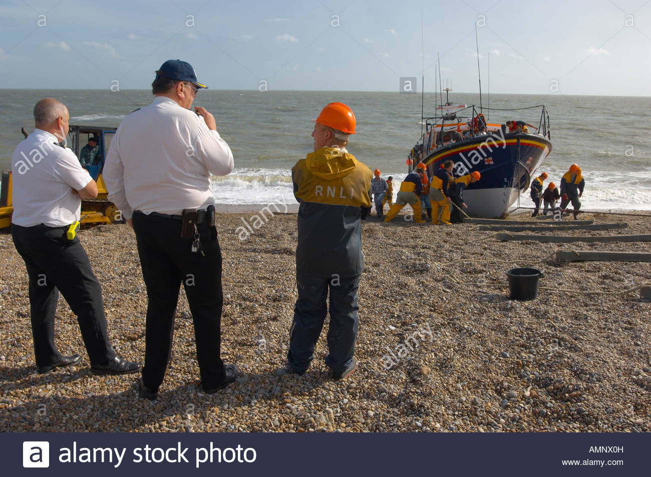 RNLI lifeboat being landed at Aldeburgh, East Anglia. Royal National Lifeboat - Stock Image