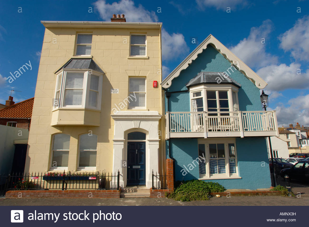 Sea front houses at Aldeburgh, East Anglia, Suffolk, England - Stock Image