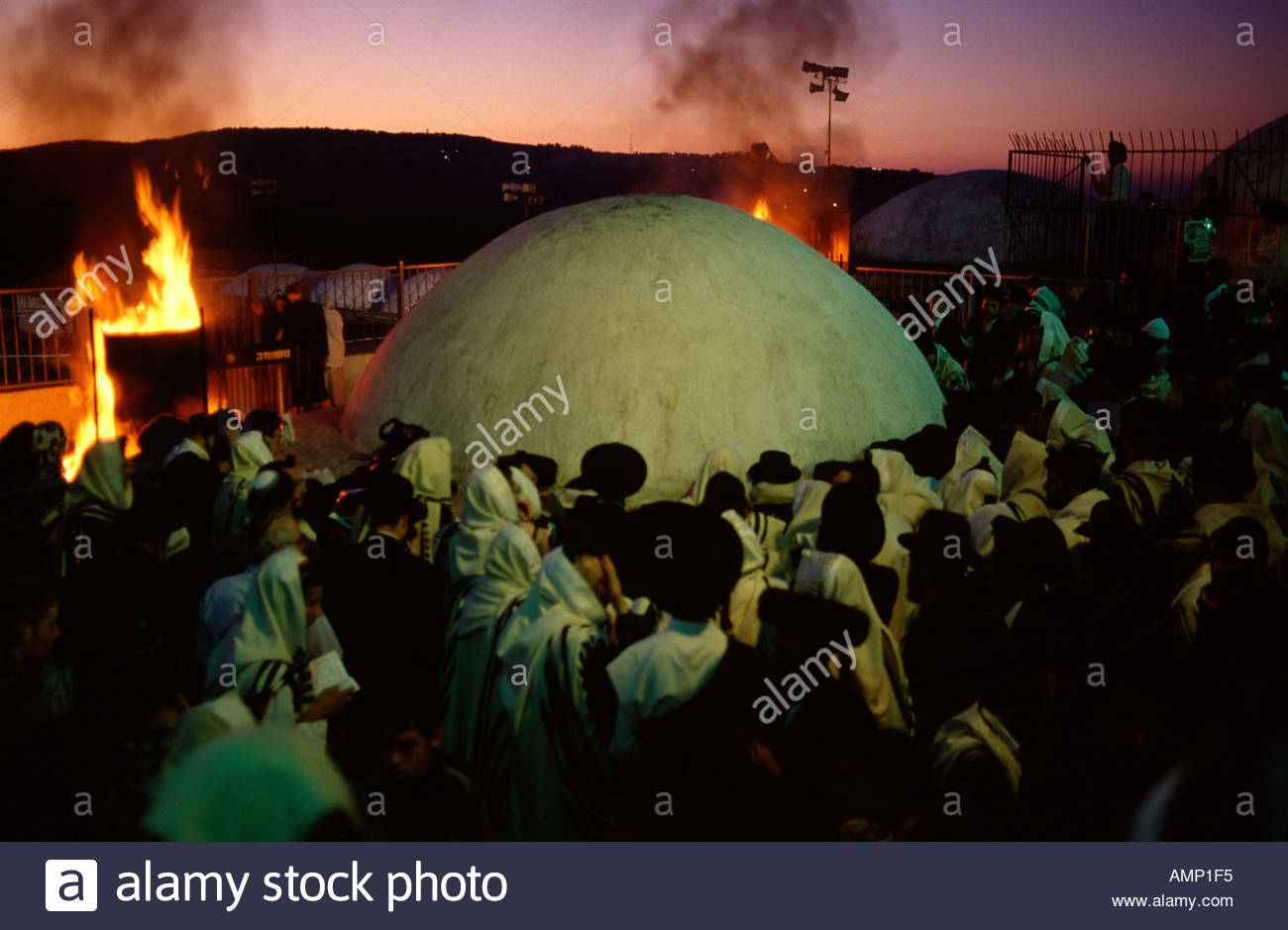 Religious Jews celebrate Lag Baomer Jewish feast at the tomb of Rabbi Shimon Bar Yochai in mount Meiron, Galilee Northern Israel - Stock Image