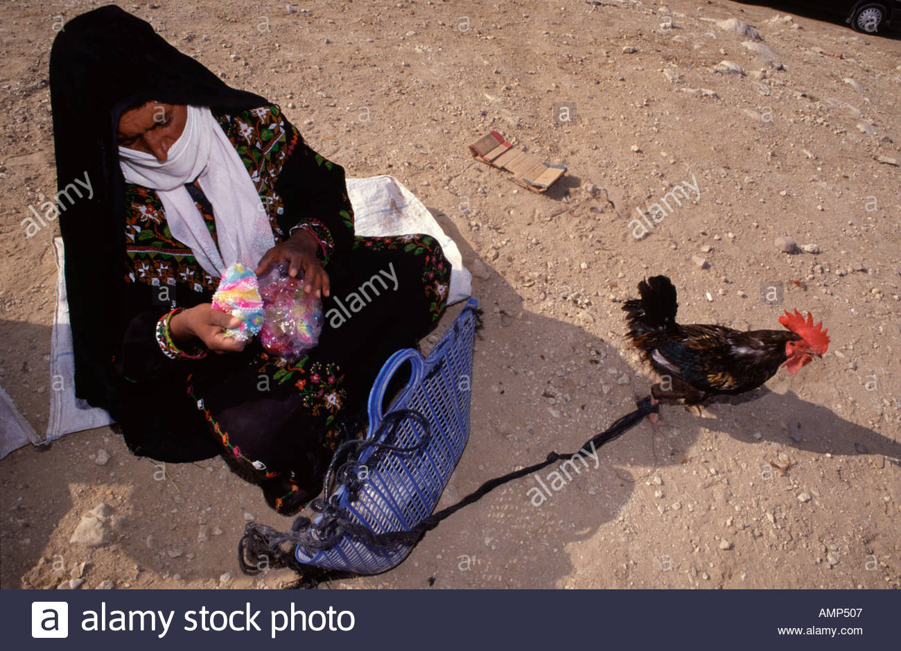 Bedouin woman from the Tarabin tribe at the market in Beersheba also spelled Beer-Sheva the largest city in the Negev desert of southern Israel - Stock Image