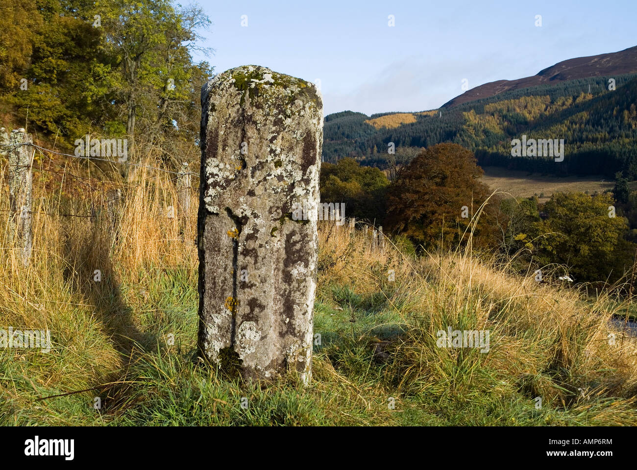 dh Priests Stone monolith LOCH FASKALLY PERTHSHIRE SCOTLAND Pictish Celtic cross standing scottish highlands pict carving slab Stock Photo
