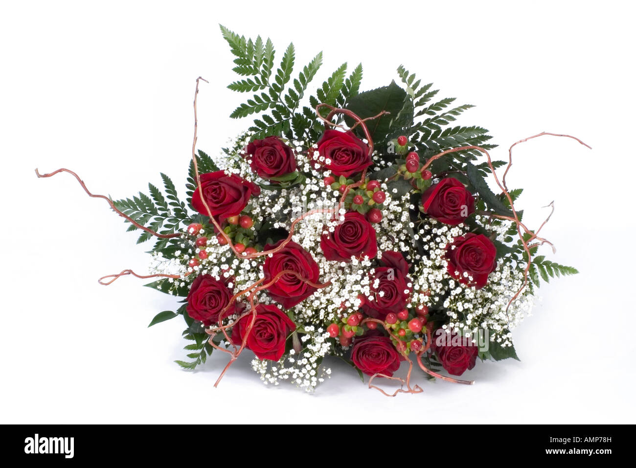 Red Rose Bouquet Babys Breath Stock Photos & Red Rose Bouquet Babys ...