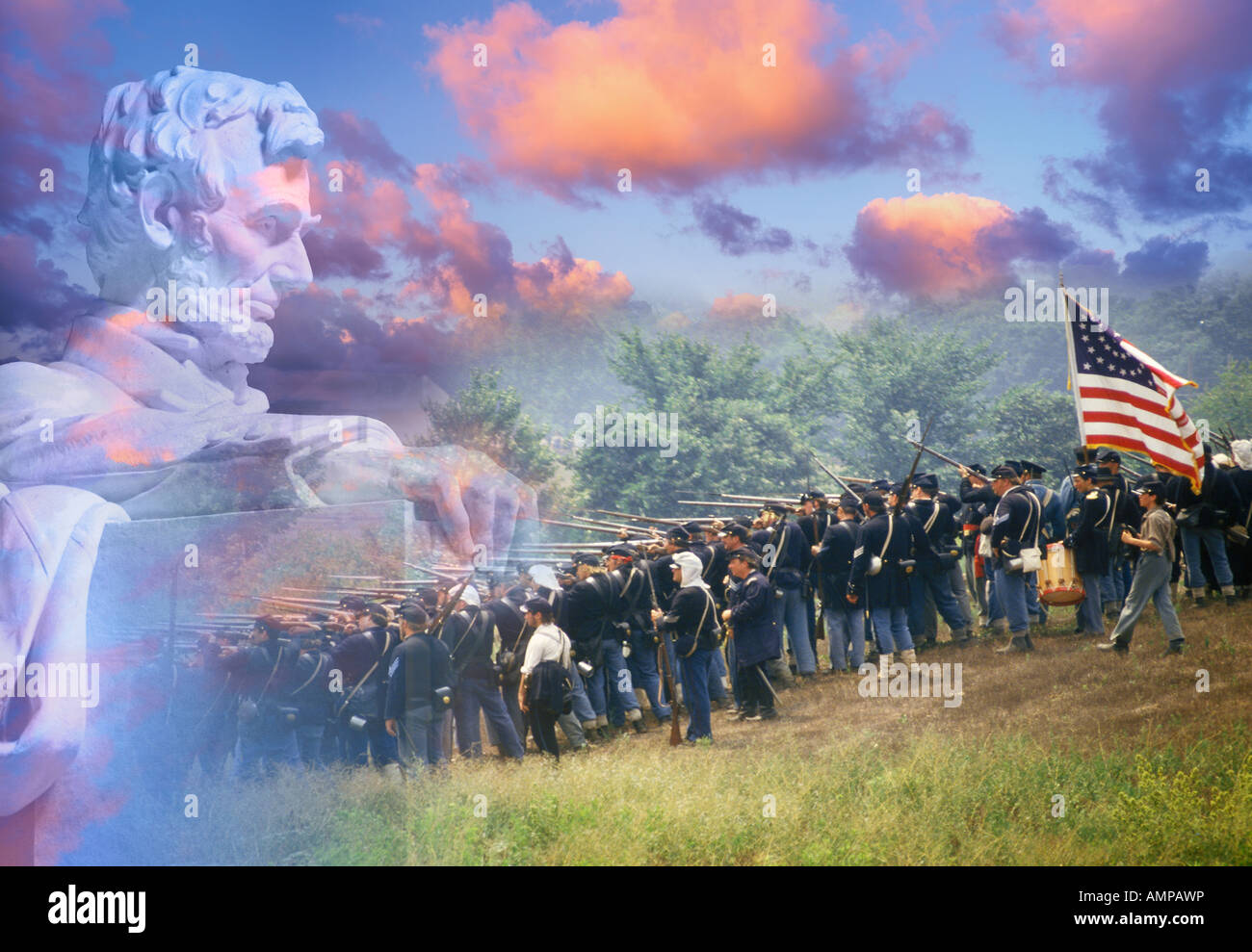 Composite image of Lincoln Memorial and Civil War soldiers in battle - Stock Image