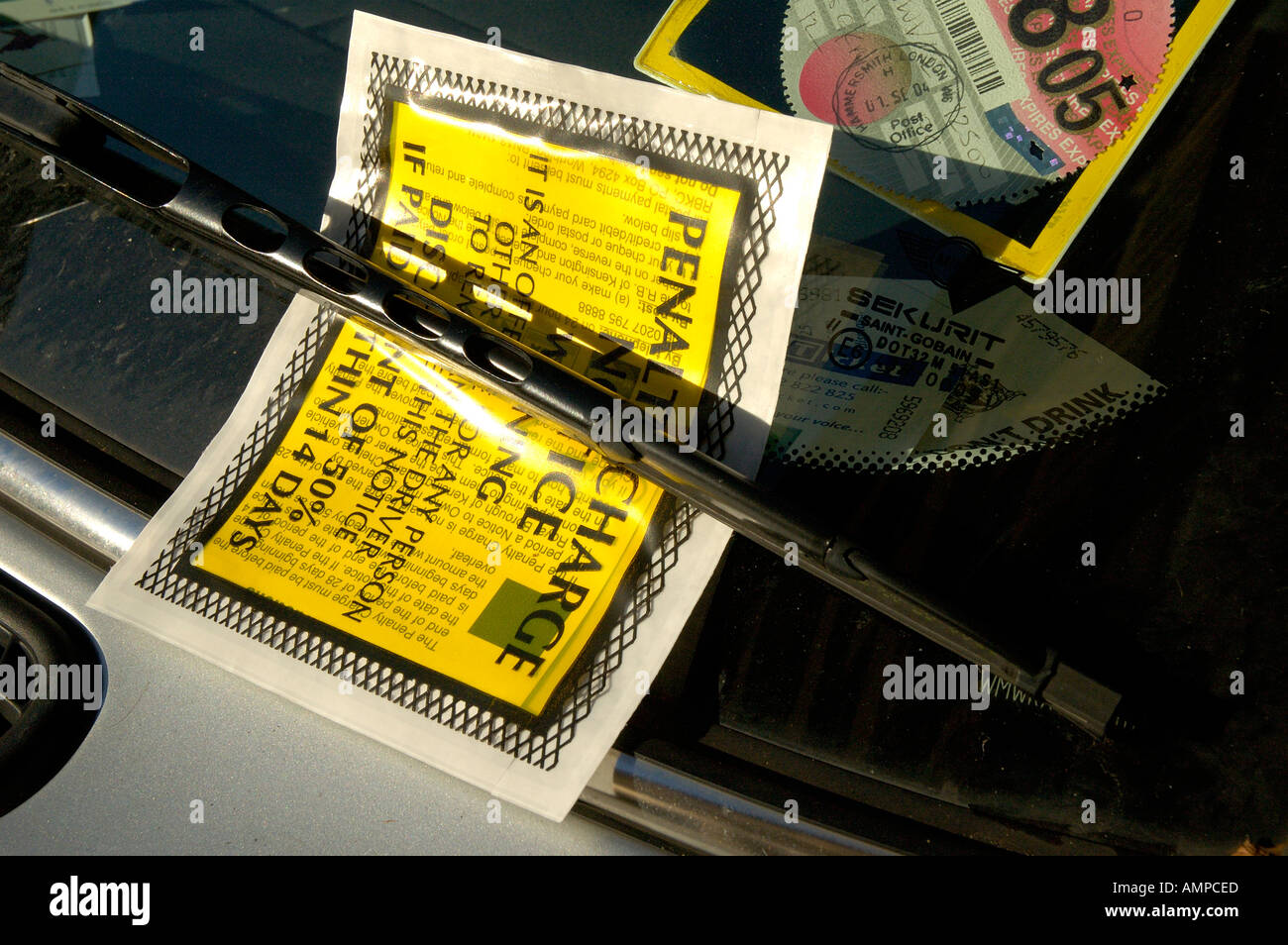 Penalty Charge Notice on windscreen of car Stock Photo