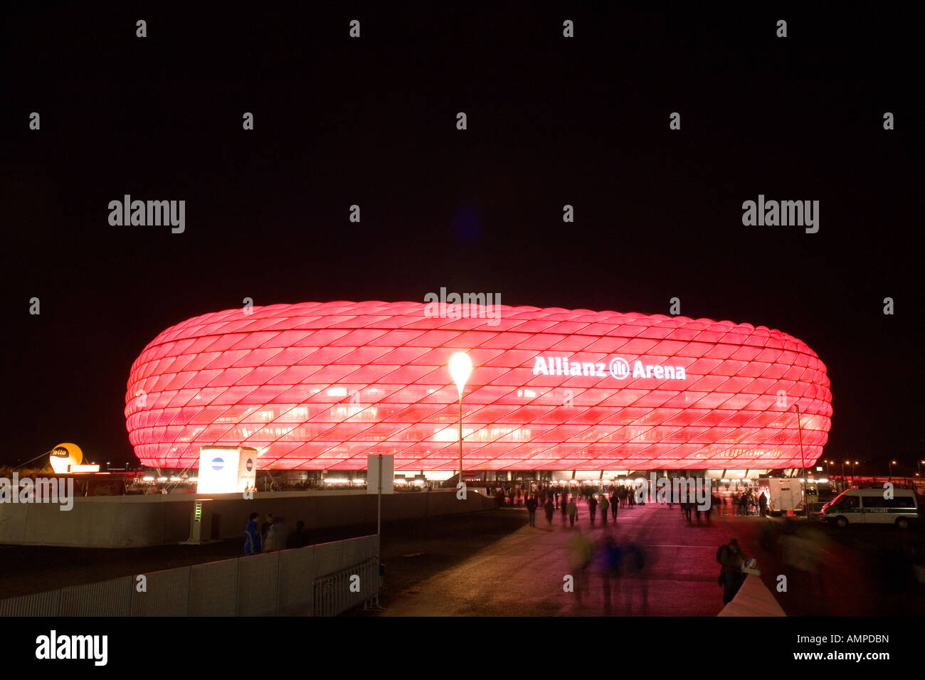 Germany Bavaria Munich The illuminated football stadion Allianz Arena at night game for the UEFA Pokal at 08 11 - Stock Image