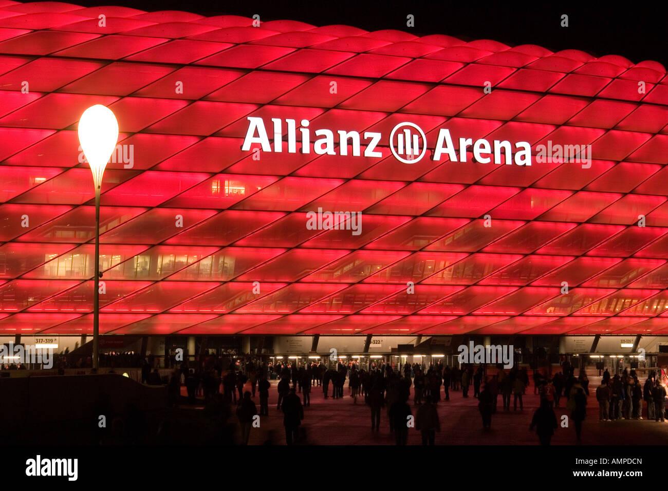 EU DE Germany Bavaria Munich The illuminated football stadion EU DE Germany Bavaria Munich - Stock Image