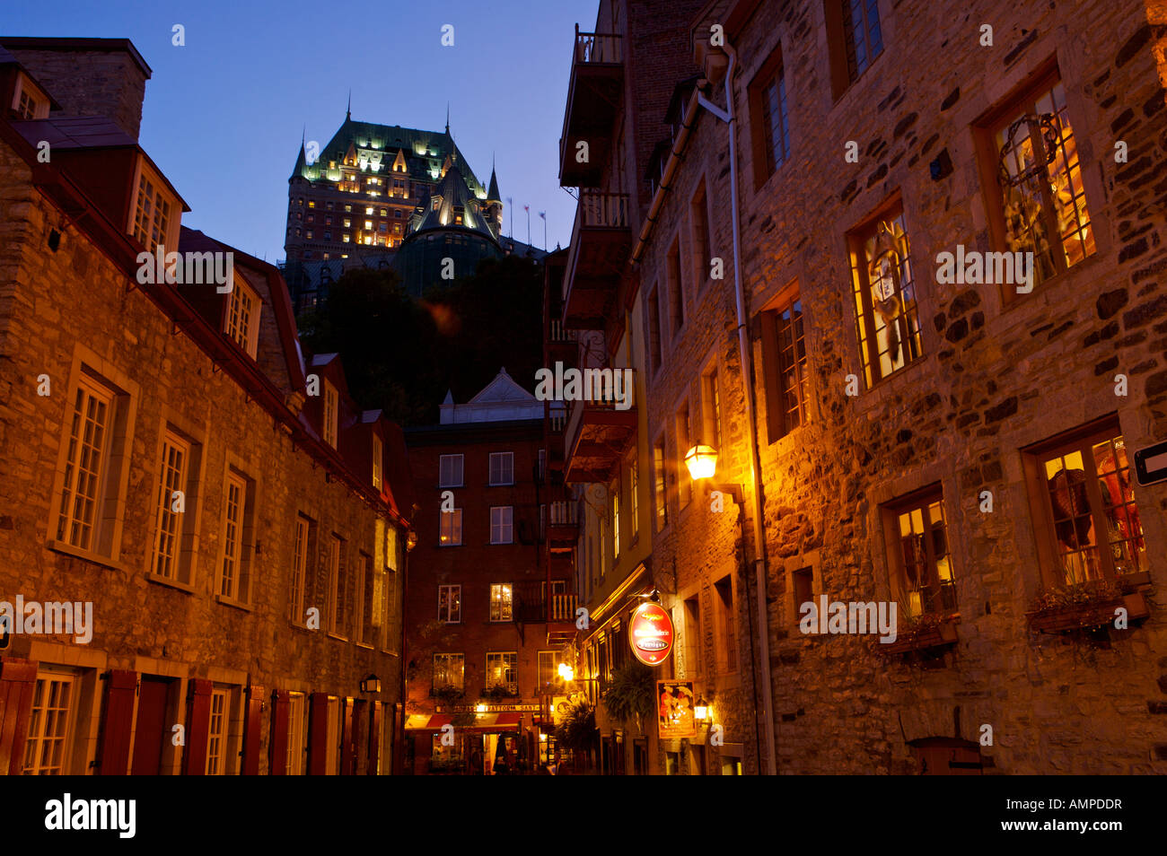 Fairmont Le Chateau Frontenac seen at blue hour from rue Notre-Dame in Old Quebec,Quebec, Canada. UNESCO World Heritage - Stock Image