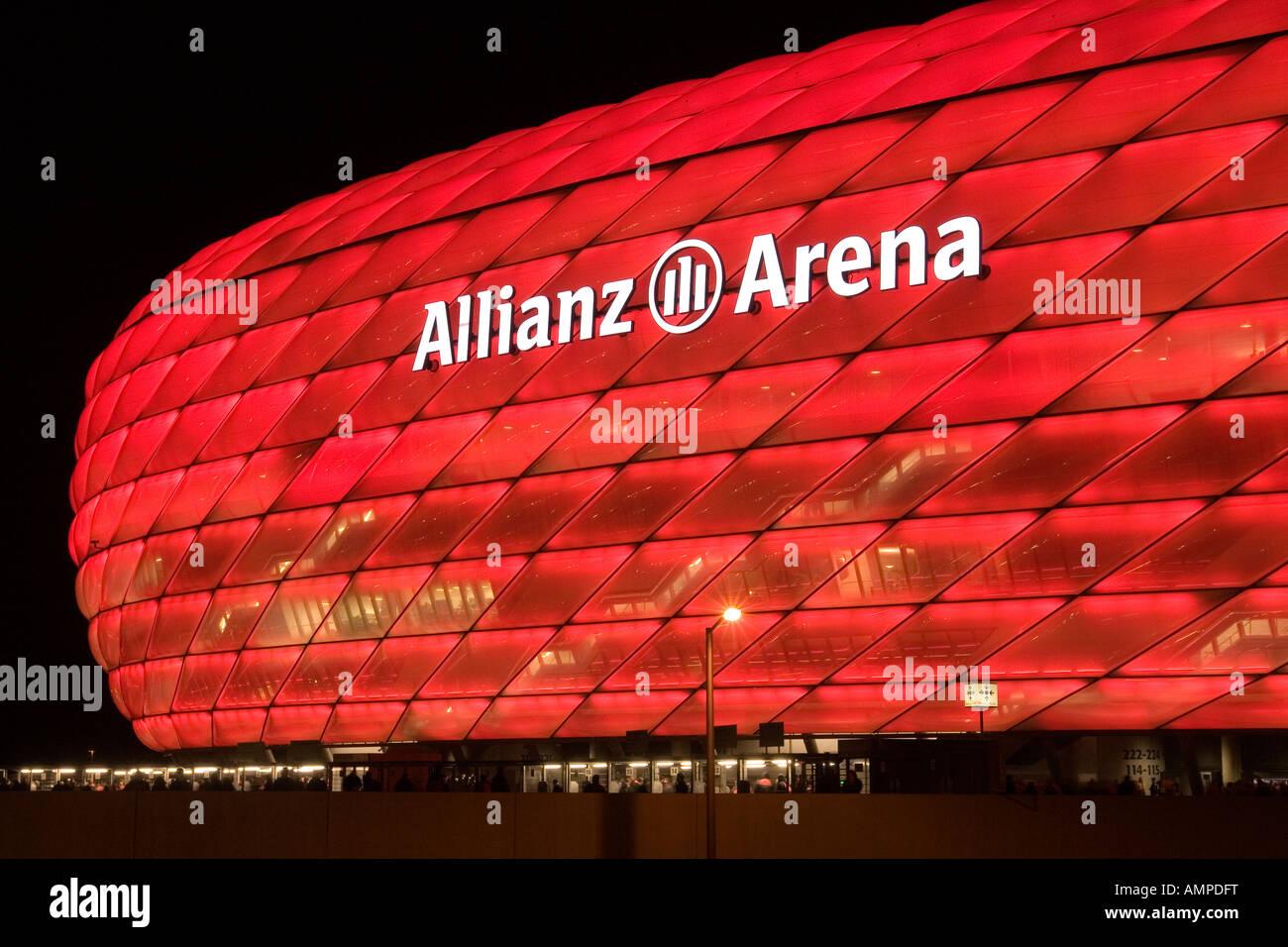 EU DE Germany Bavaria Munich The illuminated football stadion Allianz Arena at night game for UEFA Pokal at 08 11 - Stock Image