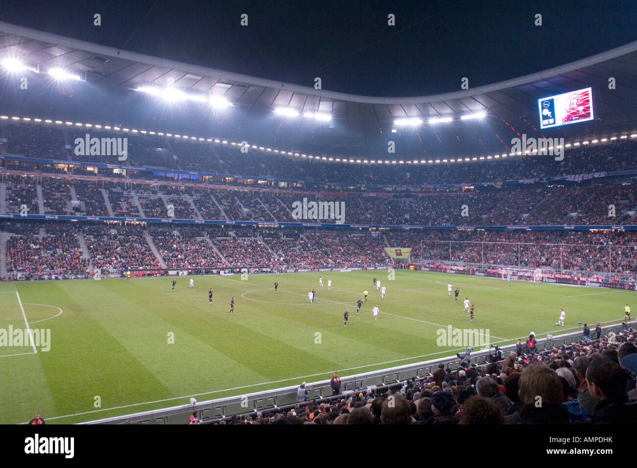 Bavaria Munich The football stadion Allianz Arena at night game for UEFA Pokal at 08 11 2007 FC Bayern Muenchen - Stock Image