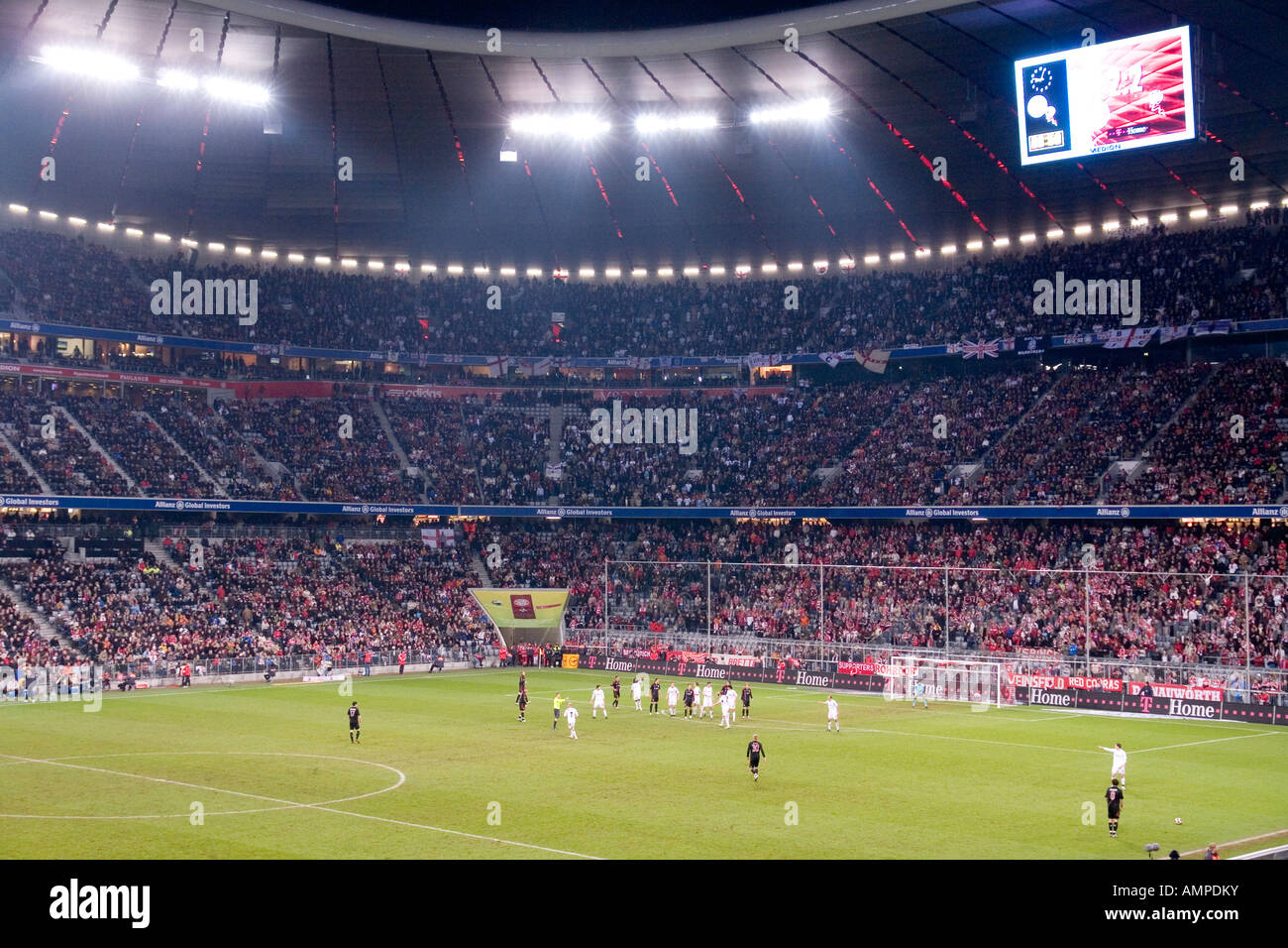 Munich The football stadion Allianz Arena at night game for the UEFA Pokal at 08 11 2007 FC Bayern Muenchen Bolton - Stock Image