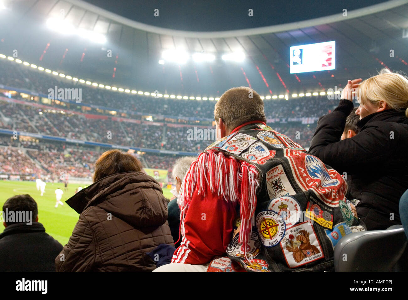 FC Bayern Muenchen Bolton Wanderers 2 2 FC FC Bayern fan with his srecial fan jacket NO PR NO MR for editorial use - Stock Image