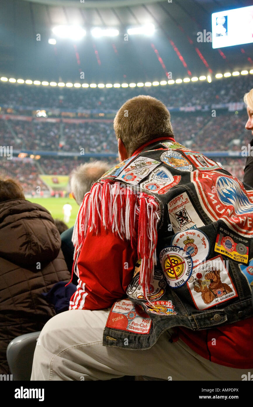 FC Bayern fan with his srecial fan jacket NO PR NO MR for editorial use only No third party rights available - Stock Image