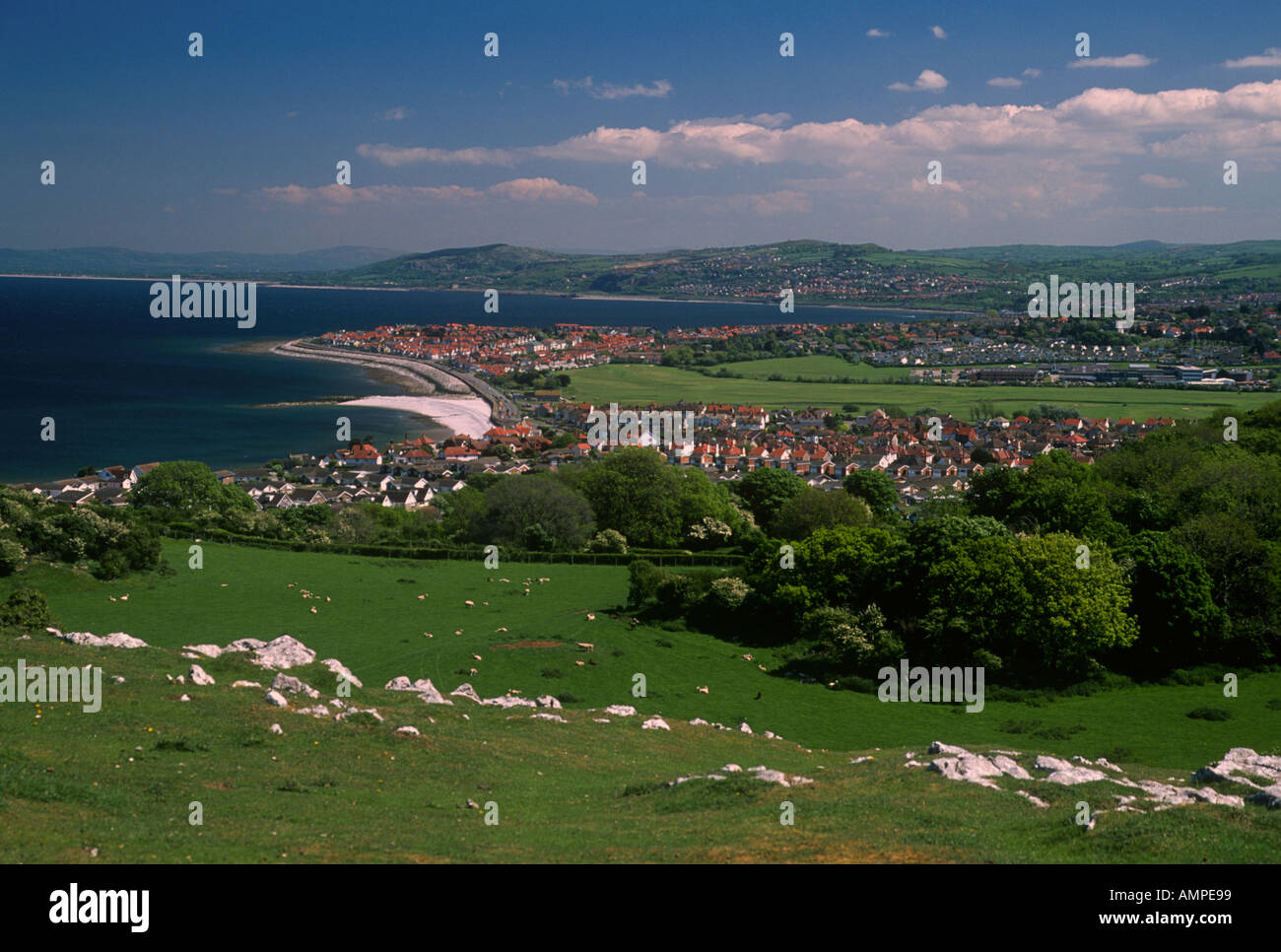 Rhos on Sea from The Little Orme Nr Llandudno Conwy North West Wales - Stock Image