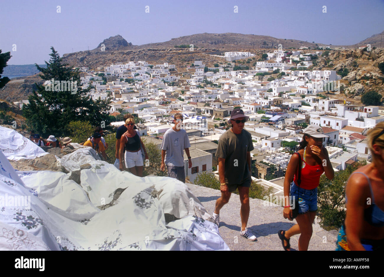 White houses in the village of Lindos on the island of Rhodes in Greece Rhodos - Stock Image