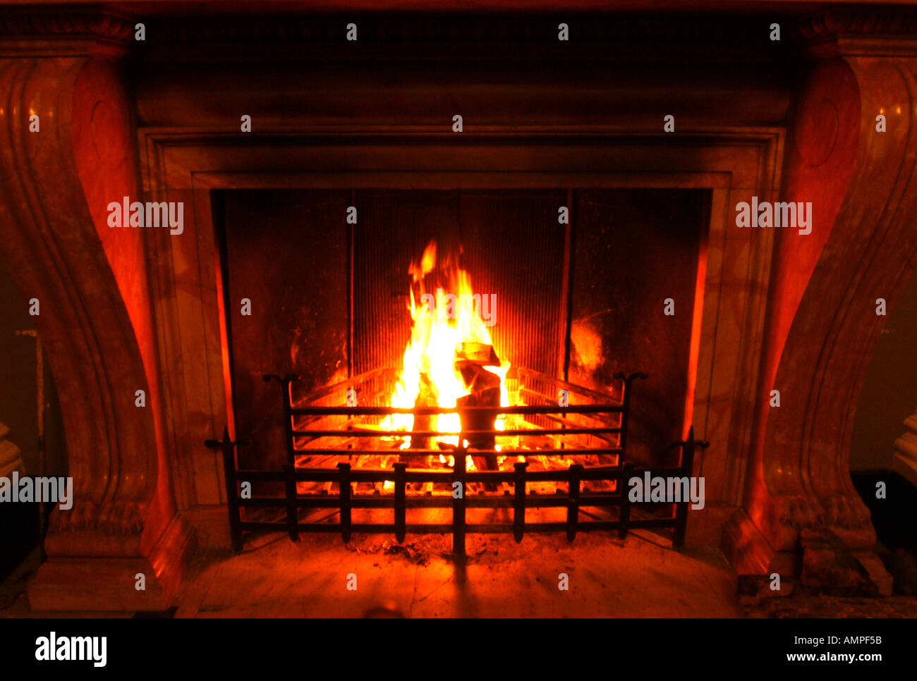 An open fireplace - Stock Image