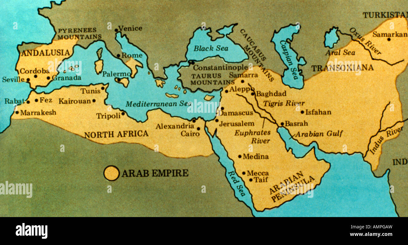 map of the arab empire of the 7th and 8th century