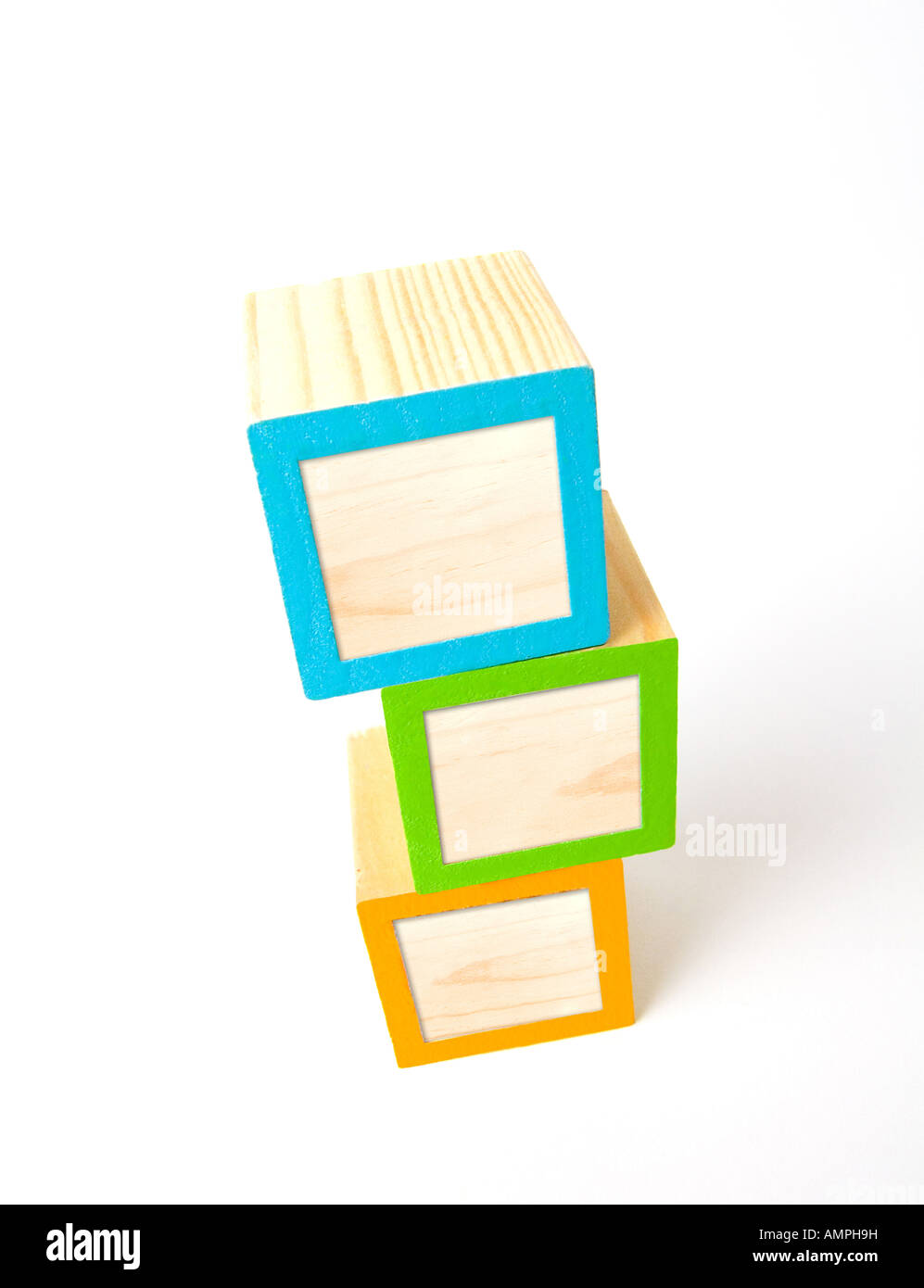 Colorful blank wooden ABC blocks looking from an angle above Ready for your custom text logo or symbol - Stock Image
