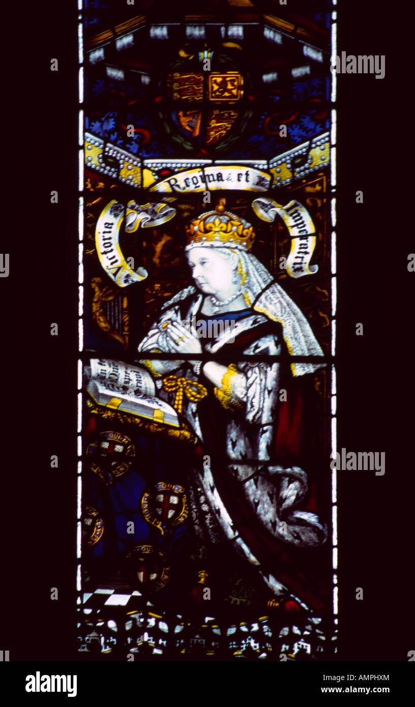 Picture 015 Winchester Cathedral Hampshire England Stained Glass Window of Queen Victoria - Stock Image