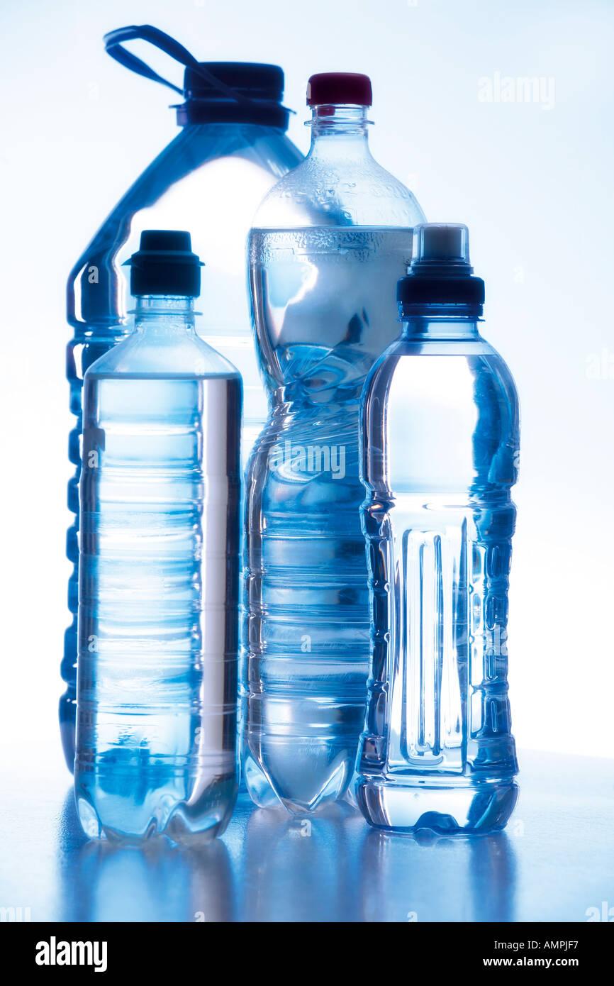 Water bottles, close-up - Stock Image