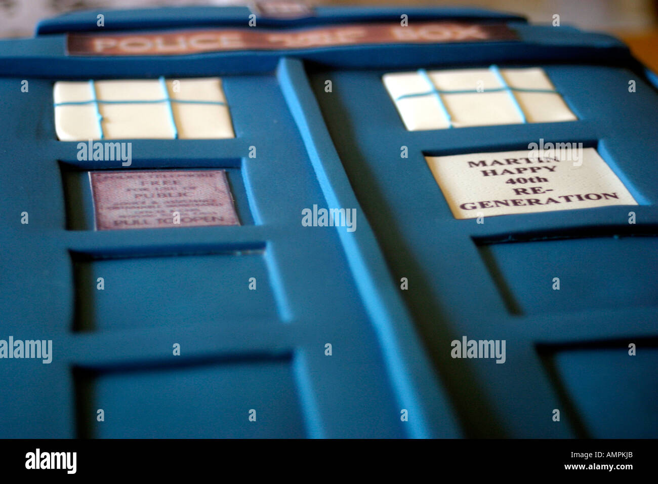 The TARDIS Cake - Stock Image