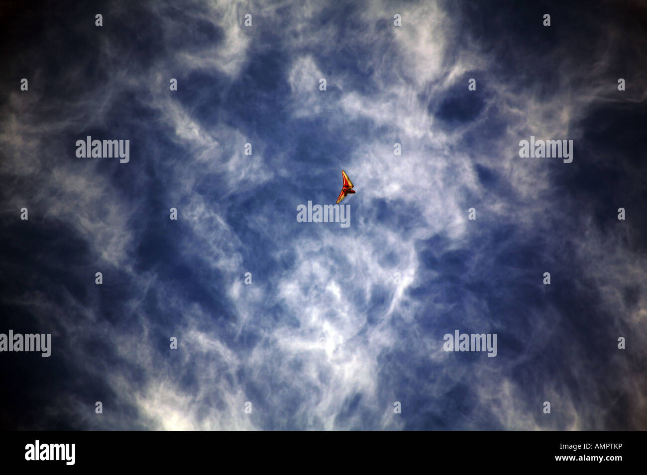 Clouds and hang glider UK - Stock Image