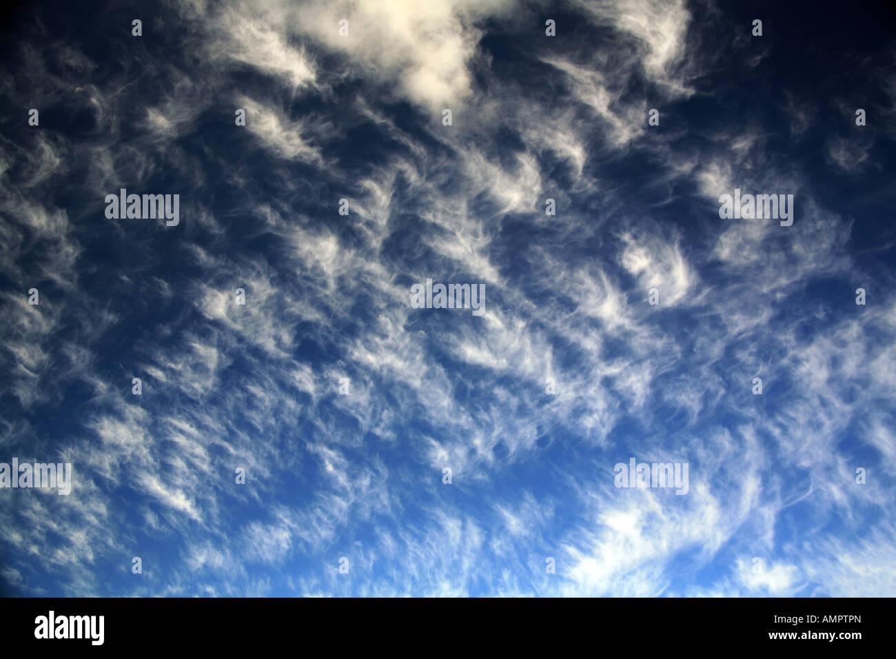 Cirrus clouds Somerset UK - Stock Image