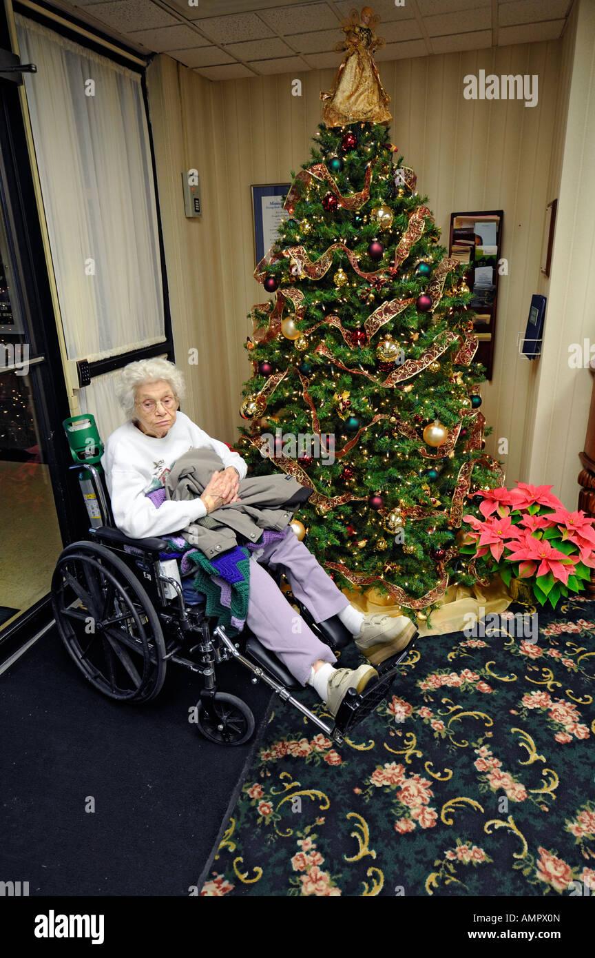Elderly senior female in a nursing home at christmas Stock Photo ...