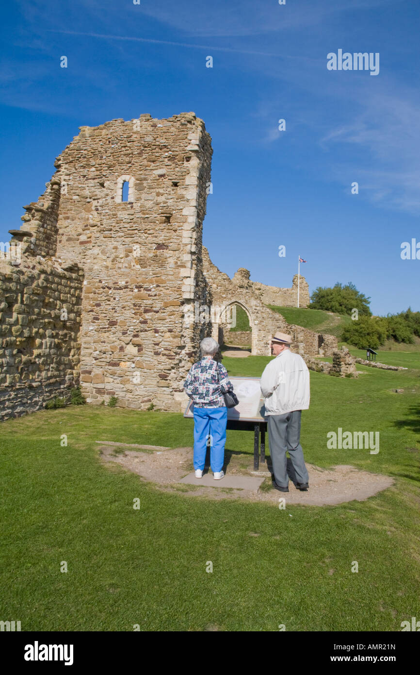 Senior Couple Checking Out The Map At Hastings Castle Hastings Stock