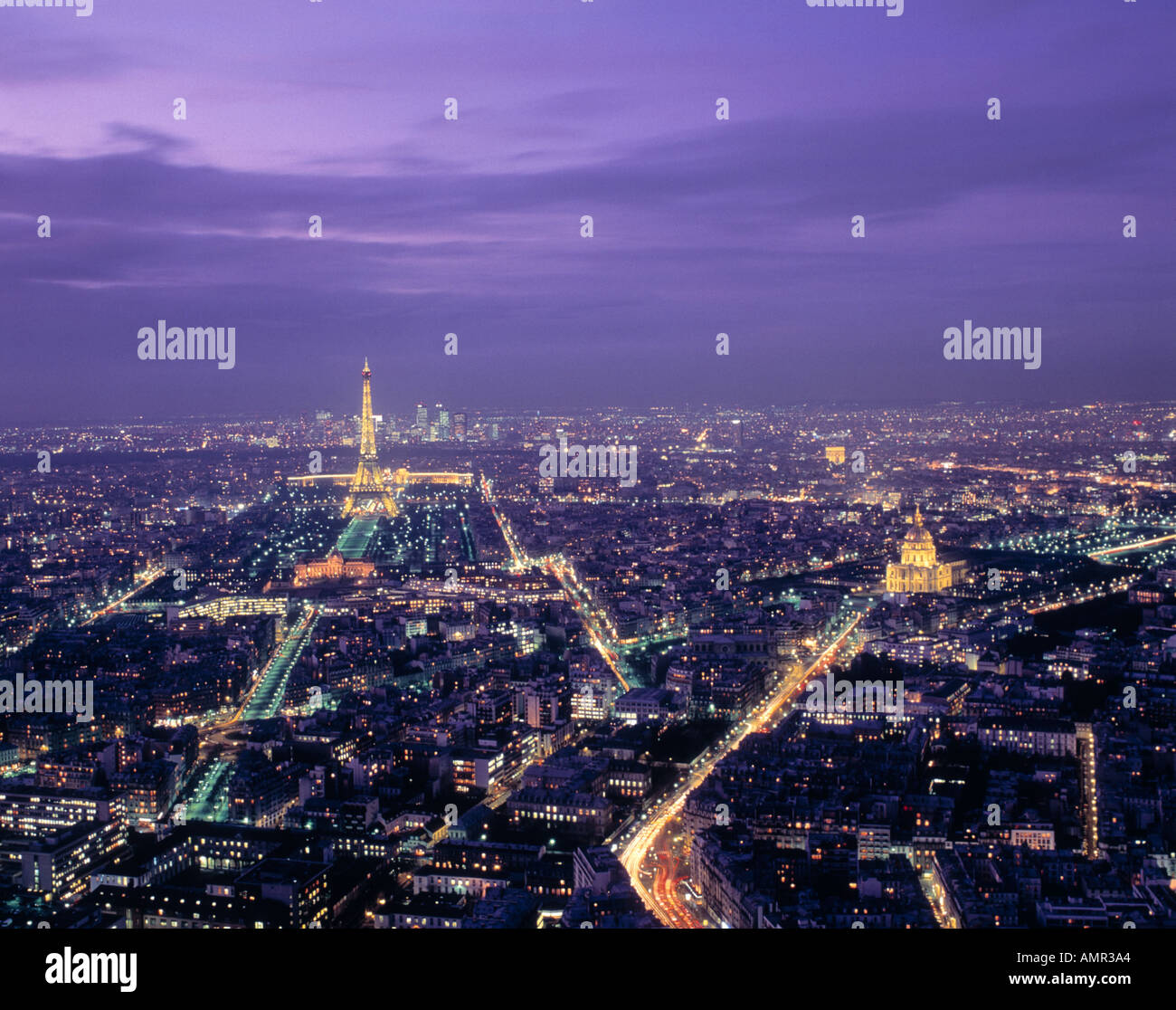 Overview of Paris France twilight - Stock Image