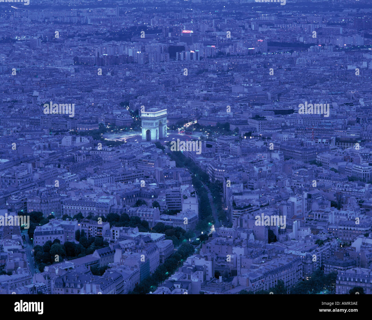 Overview of Paris France at twilight - Stock Image