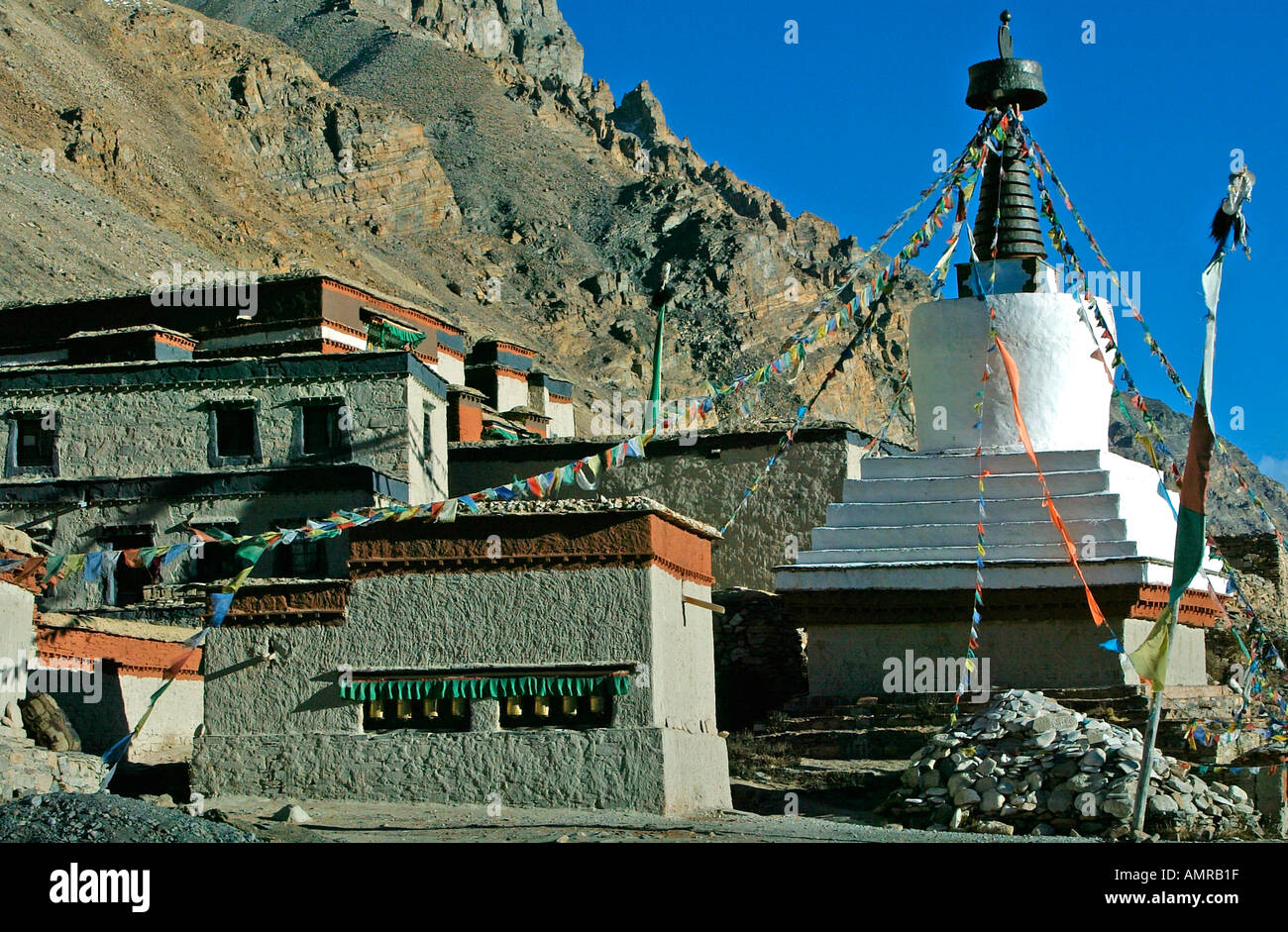 Rongbuk Monastery one of the highest in the world some five miles from Everest base camp Himalayas Tibet - Stock Image