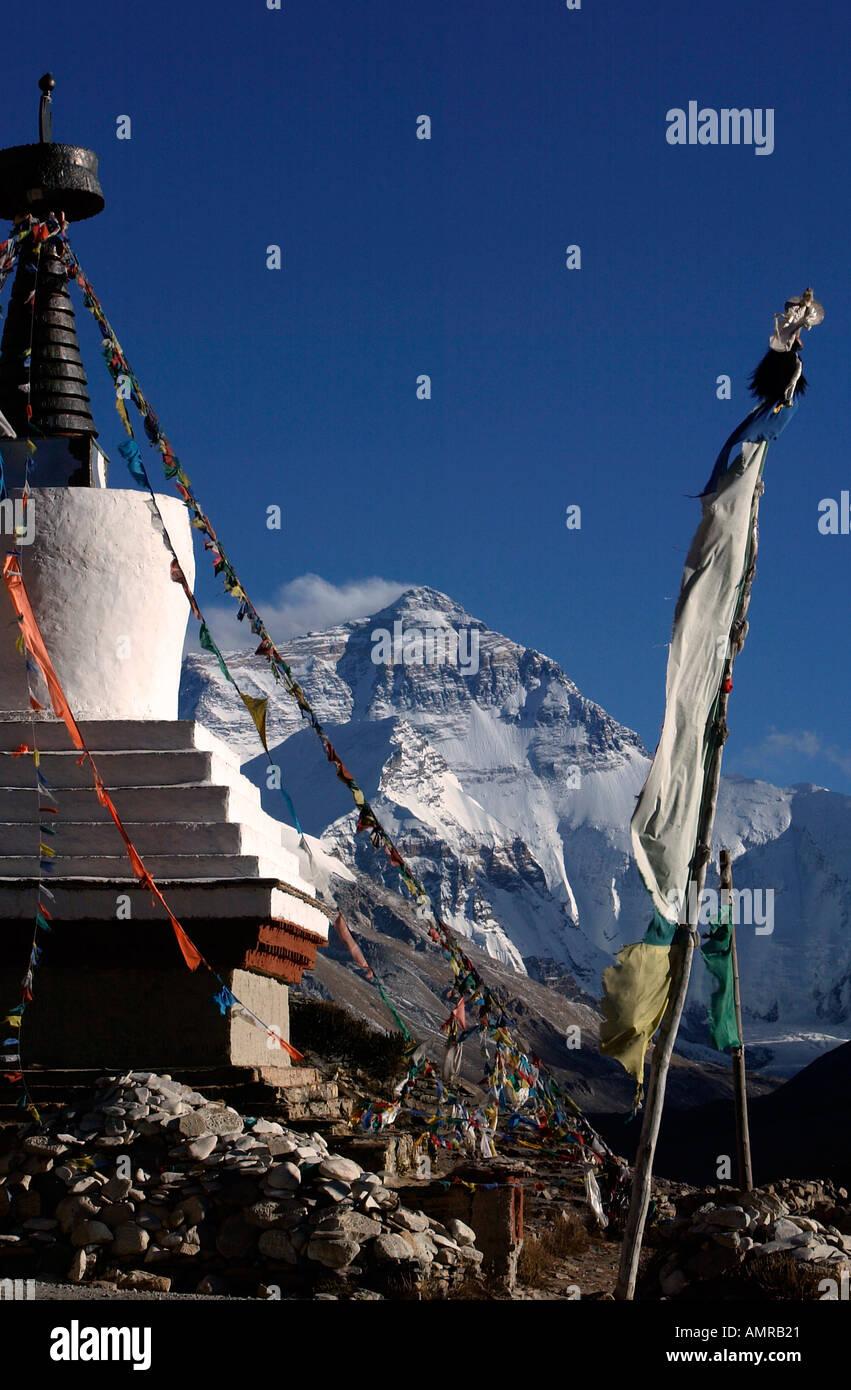Rongbuk Monastery stupa and Mount Everest north face Himalayas Tibet - Stock Image